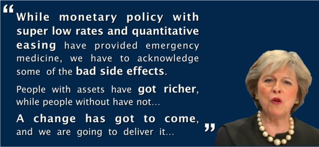 La primera ministra británica dice que hay que cambiar la política monetaria